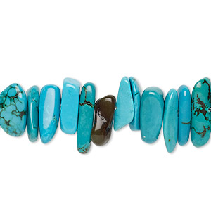 bead, magnesite (dyed / stabilized), blue, extra-large chip, mohs hardness 3-1/2 to 4. sold per 15-inch strand.