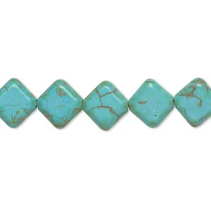 bead, magnesite (dyed / stabilized), blue-green, 10x10mm flat diamond, d grade, mohs hardness 3-1/2 to 4. sold per 15-inch strand.