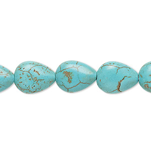 bead, magnesite (dyed / stabilized), blue-green, 13x10mm-14x10mm puffed teardrop, c grade, mohs hardness 3-1/2 to 4. sold per 15-inch strand.