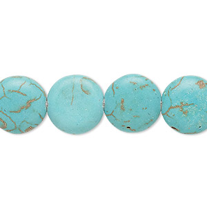 bead, magnesite (dyed / stabilized), blue-green, 14mm puffed flat round, c grade, mohs hardness 3-1/2 to 4. sold per 15-inch strand.