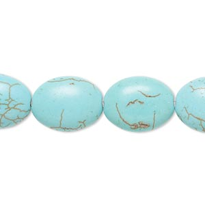 bead, magnesite (dyed / stabilized), blue-green, 15x12mm-16x12mm puffed oval, b grade, mohs hardness 3-1/2 to 4. sold per 15-inch strand.