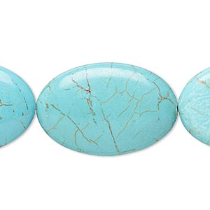 bead, magnesite (dyed / stabilized), blue-green, 29x19mm-30x20mm puffed oval, c- grade, mohs hardness 3-1/2 to 4. sold per 8-inch strand.