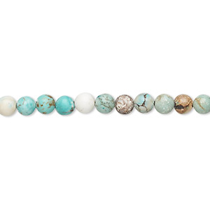 bead, magnesite (dyed / stabilized), blue-green, 3-5mm round, d- grade, mohs hardness 3-1/2 to 4. sold per 15-inch strand.