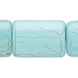 bead, magnesite (dyed / stabilized), blue-green, 34x23mm-35x24mm puffed rectangle, c grade, mohs hardness 3-1/2 to 4. sold per 15-inch strand.