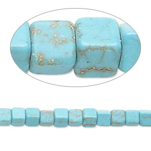 bead, magnesite (dyed / stabilized), blue-green, 4x4mm cube, c- grade, mohs hardness 3-1/2 to 4. sold per 15-inch strand.