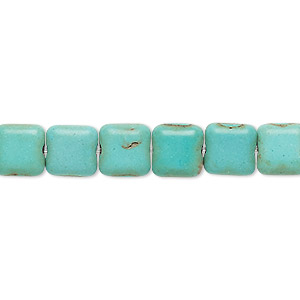 bead, magnesite (dyed / stabilized), blue-green, 8x8mm flat square, c- grade, mohs hardness 3-1/2 to 4. sold per 15-inch strand.