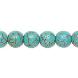 bead, magnesite (dyed / stabilized), blue-green, 9-10mm round, b- grade, mohs hardness 3-1/2 to 4. sold per 15-inch strand.