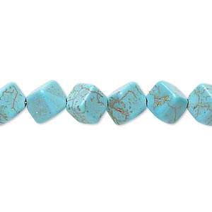 bead, magnesite (dyed / stabilized), blue-green, 9x8mm-9x9mm diagonally drilled cube, c grade, mohs hardness 3-1/2 to 4. sold per 15-inch strand.