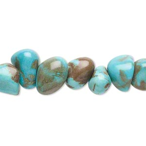 bead, magnesite (dyed / stabilized), blue-green, large pebble, mohs hardness 3-1/2 to 4. sold per 15-inch strand.
