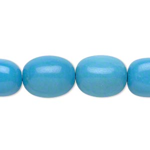 bead, magnesite (dyed / stabilized), blue, small tumbled nugget, mohs hardness 5 to 6. sold per 16-inch strand.