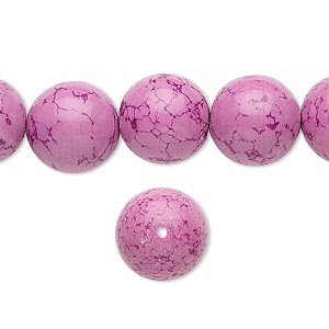bead, magnesite (dyed / stabilized), fuchsia, 12mm round, b grade, mohs hardness 3-1/2 to 4. sold per 16-inch strand.
