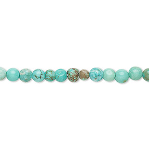 bead, magnesite (dyed / stabilized), green, 4mm round, d grade, mohs hardness 3-1/2 to 4. sold per 15-inch strand.