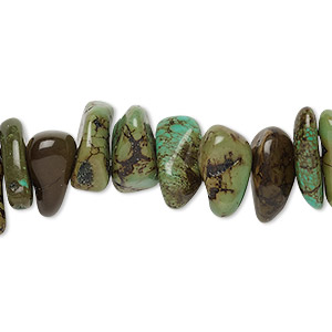 bead, magnesite (dyed / stabilized), green-brown, large chip, mohs hardness 3-1/2 to 4. sold per 15-inch strand.