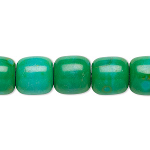 bead, magnesite (dyed / stabilized), kelly green, 11x11mm-12x12mm barrel, c grade, mohs hardness 3-1/2 to 4. sold per 15-inch strand.