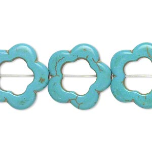 bead, magnesite (dyed / stabilized), light blue, 18x18mm-20x20mm open flower with 10mm center hole, c grade, mohs hardness 3-1/2 to 4. sold per 13-inch strand.