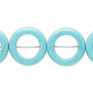 bead, magnesite (dyed / stabilized), light blue, 20mm round donut, 11.5mm center hole, c grade, mohs hardness 3-1/2 to 4. sold per 15-inch strand.