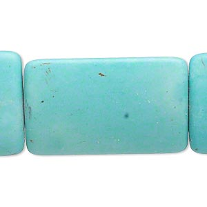 bead, magnesite (dyed / stabilized), light blue, 35x24mm puffed rectangle, c- grade, mohs hardness 3-1/2 to 4. sold per 15-inch strand.