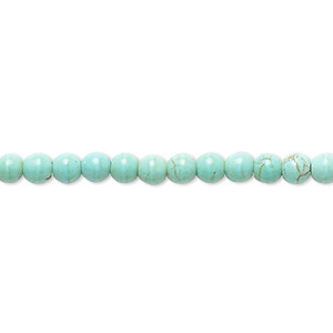 bead, magnesite (dyed / stabilized), light teal green, 3-5mm round, b- grade, mohs hardness 3-1/2 to 4. sold per 15-inch strand.