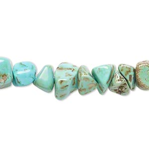 bead, magnesite (dyed / stabilized), light teal green, large chip, mohs hardness 3-1/2 to 4. sold per 15-inch strand.