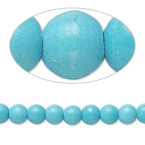 bead, magnesite (dyed / stabilized), matte teal, 5-6mm round, b- grade, mohs hardness 3-1/2 to 4. sold per 15-inch strand.