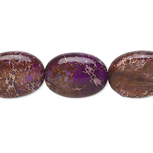 bead, magnesite (dyed / stabilized), purple, 18x13mm flat oval, b grade, mohs hardness 3-1/2 to 4. sold per 16-inch strand.