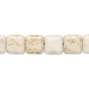 bead, magnesite (dyed / stabilized), tan, 10x10mm flat square, c grade, mohs hardness 3-1/2 to 4. sold per 15-inch strand.
