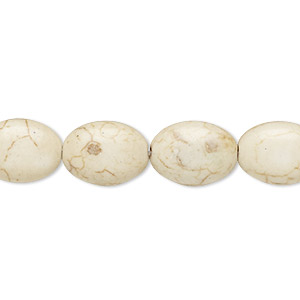 bead, magnesite (dyed / stabilized), tan, 13x10mm-14x10mm puffed oval, c grade, mohs hardness 3-1/2 to 4. sold per 15-inch strand.