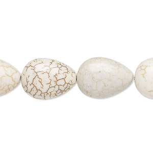 bead, magnesite (dyed / stabilized), tan, 18x13mm puffed teardrop, c grade, mohs hardness 3-1/2 to 4. sold per 15-inch strand.