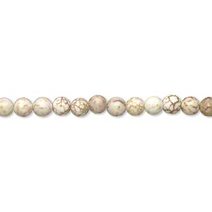 bead, magnesite (dyed / stabilized), tan, 3-4mm round, c grade, mohs hardness 3-1/2 to 4. sold per 15-inch strand.