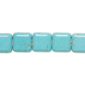 bead, magnesite (dyed / stabilized), teal, 10x10mm puffed square, b- grade, mohs hardness 3-1/2 to 4. sold per 15-inch strand.