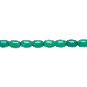 bead, magnesite (dyed / stabilized), teal green, 6x4mm-6x5mm oval, c grade, mohs hardness 3-1/2 to 4. sold per 15-inch strand.