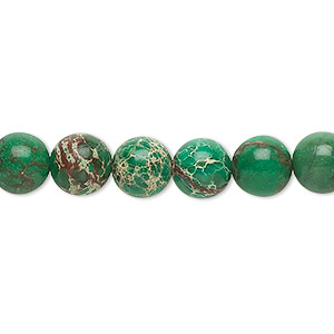 bead, magnesite (dyed / stabilized), turquoise green, 8mm round, b grade, mohs hardness 3-1/2 to 4. sold per 16-inch strand.