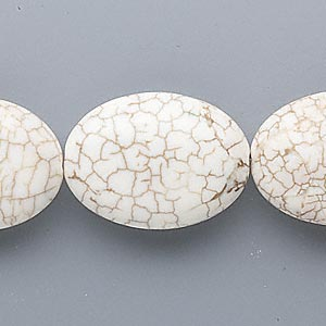 bead, magnesite (stabilized), white, 25x18mm puffed oval, c grade, mohs hardness 3-1/2 to 4. sold per 16-inch strand.