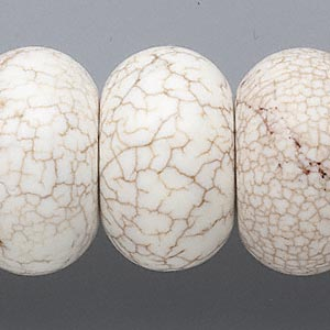 bead, magnesite (stabilized), white, 29x17mm-30x20mm rondelle, c grade, mohs hardness 3-1/2 to 4. sold per 16-inch strand.