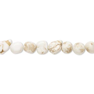 bead, magnesite (stabilized), white, small pebble, mohs hardness 3-1/2 to 4. sold per 15-inch strand.