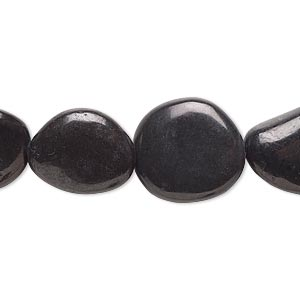 bead, magnetite (natural), small to medium flat nugget, mohs hardness 5-1/2 to 6-1/2. sold per 8-inch strand.
