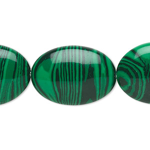 bead, malachite (imitation), dark and light green, 25x18mm flat oval. sold per 16-inch strand.