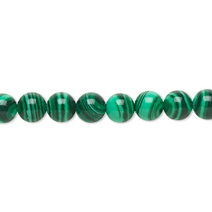 bead, malachite (imitation), dark and light green, 6mm round. sold per 16-inch strand.