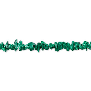 bead, malachite (imitation), mini chip. sold per 36-inch strand.