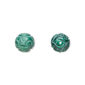 bead, malachite (natural), 10mm carved round, a grade, mohs hardness 3-1/2 to 4. sold per pkg of 2.