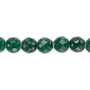 bead, malachite (natural), 10mm faceted round with 0.5-1.5mm hole, b grade, mohs hardness 3-1/2 to 4. sold per 8-inch strand, approximately 20 beads.