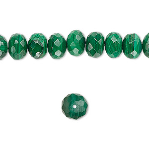 bead, malachite (natural), 10x7mm faceted rondelle, b grade, mohs hardness 3-1/2 to 4. sold per 16-inch strand.