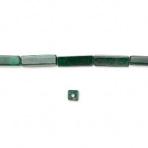 bead, malachite (natural), 13x4mm square tube, c grade, mohs hardness 3-1/2 to 4. sold per 16-inch strand.