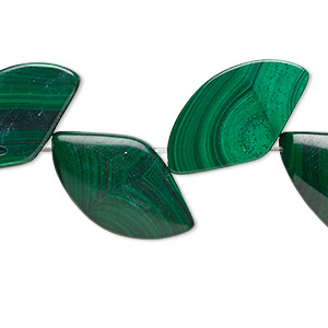 bead, malachite (natural), 20x11mm-24x14mm freeform, b grade, mohs hardness 3-1/2 to 4. sold per 8-inch strand.