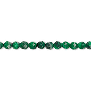 bead, malachite (natural), 4mm faceted round with 0.5-1.5mm hole, b grade, mohs hardness 3-1/2 to 4. sold per 8-inch strand, approximately 50 beads.