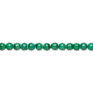 bead, malachite (natural), 4mm round, c grade, mohs hardness 3-1/2 to 4. sold per 15-inch strand.