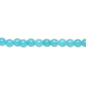 bead, malaysia jade (dyed), aqua, 4mm hand-cut round, b- grade, mohs hardness 7. sold per 15-inch strand.