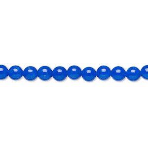 bead, malaysia jade (dyed), cobalt, 4mm round, b grade, mohs hardness 7. sold per 16-inch strand.