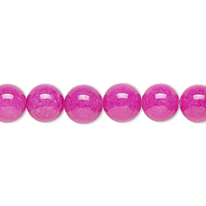 bead, malaysia jade (dyed), fuchsia, 8mm round, b grade, mohs hardness 7. sold per 16-inch strand.