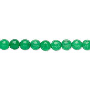 bead, malaysia jade (dyed), kelly green, 5-6mm round, c grade, mohs hardness 7. sold per 15-inch strand.